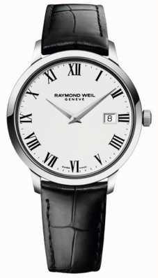 Raymond Weil Męski wąski biały czarny skórzany pasek 5488-STC-00300
