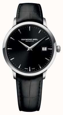 Raymond Weil Męska szczupła, czarna, czarna skóra 5488-STC-20001