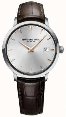 Raymond Weil Męski, wąski, srebrny, brązowy pasek ze skóry 5488-SL5-65001
