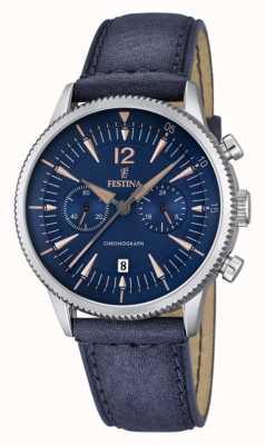 Festina Męski niebieski zegarek, niebieska skóra F16870/2