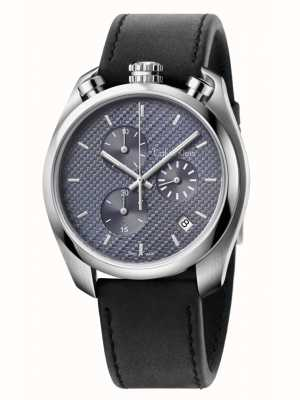 Calvin Klein Kontroluj chronograf z czarnej skóry K6Z371C4