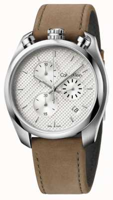 Calvin Klein Męski, chronograf z brązowej skóry K6Z371G6