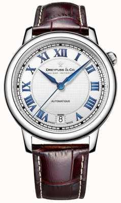 Dreyfuss Męski zegarek ze stali nierdzewnej 1925 z brązowym skórzanym paskiem DGS00148/01