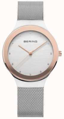 Bering Panie | srebrny pasek ze stali nierdzewnej | biała / złota tarcza 12934-060