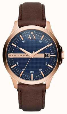 Armani Exchange Męski brązowy skórzany pasek z różowego złota AX2172