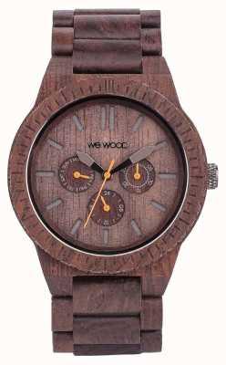WeWood Męski kappa, czekoladowy, drewniany, brązowy pasek 70315500