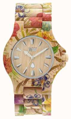 WeWood Damski, drewniany, beżowy pasek w kwiatki 70221200