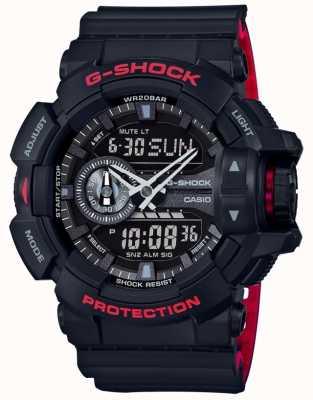 Casio Męski pasek z czarnej żywicy chronograf z alarmem g-shock GA-400HR-1AER