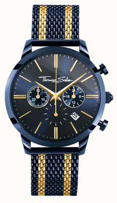 Thomas Sabo Męski buntownik ducha niebieski stalowy żółty pasek złoto chronograf WA0290-286-209-42