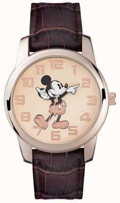 Disney Adult Brązowy pasek Mickey z różowym złotem MK1459