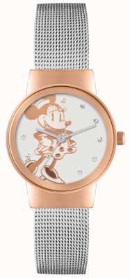 Disney Adult Różowa koperta Myszka Minnie z srebrnego paska z siatki MN1312