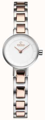 Obaku Womans srebrny i różany metalowy zegarek V198LXCISC