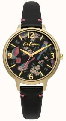 Cath Kidston Brytyjski zegarek z czarnej skóry dla pań CKL001BG