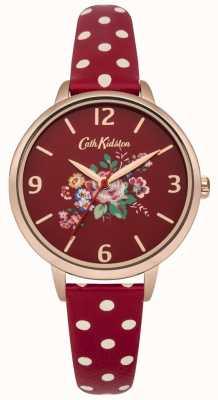 Cath Kidston Cath kidston wrzośca różany czerwony pasek polka dot zegarek CKL004RRG
