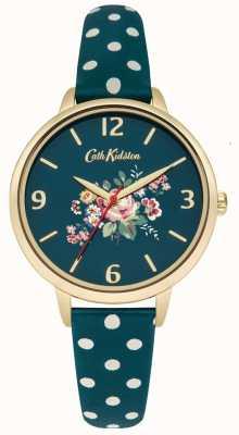 Cath Kidston Damski dziergany różany pasek w zielone kropki CKL004NG