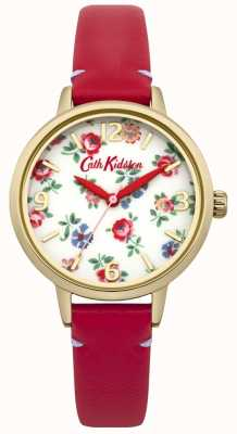 Cath Kidston Zegarek z czerwonej skóry dla kobiet CKL006RG
