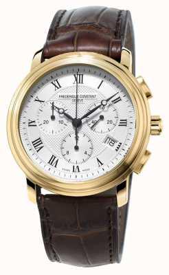 Frederique Constant Męski, klasyczny, chronograf z brązowym skórzanym paskiem FC-292MC4P5