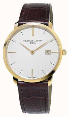 Frederique Constant Męski, smukły, brązowy skórzany pasek FC-220V5S5