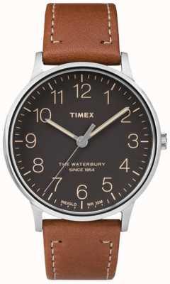Timex Mężczyzna waterbury klasyczny czarny pasek brązowy wybierania TW2P95800