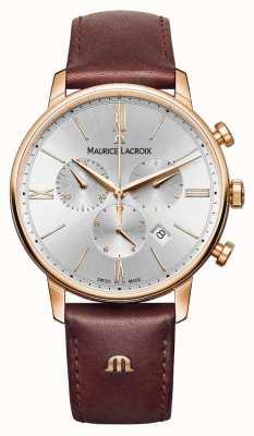 Maurice Lacroix Męski zegarek Eliros 40mm w brązowej oprawie z pozłacanego różowego złota EL1098-PVP01-111-1
