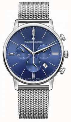 Maurice Lacroix Męski pasek z niebieskiej siatki chronografu eliros EL1098-SS002-410-1
