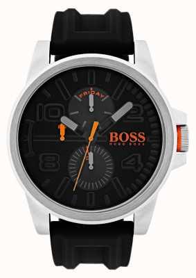 Hugo Boss Orange Detroit czarny gumowy zegarek z datownikiem i datą 1550006