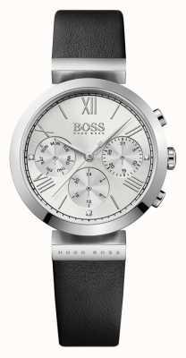 Boss Klasyczny czarny skórzany pasek damski ze srebrną tarczą 1502395