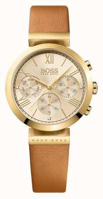 Hugo Boss Damski, klasyczny sport, brązowy pasek ze złotym paskiem 1502396