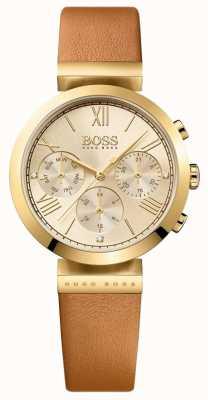 Boss Klasyczny skórzany pasek z brązowego skórzanego paska złota 1502396