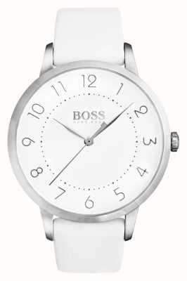 Boss Zaćmienie damskie biały skórzany pasek biała tarcza 1502409
