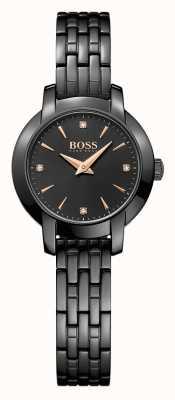 Hugo Boss Sukces damska czarna bransoleta ze stali czarnej tarczy 1502387