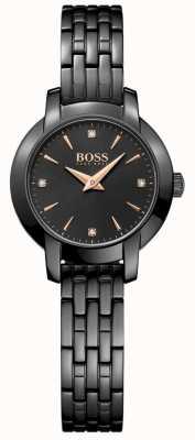 Boss Suknia damska czarna platerowana stalowa bransoletka czarna tarcza 1502387