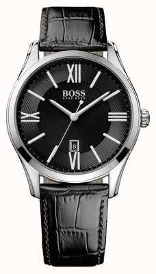 Hugo Boss Męski ambasador, czarny skórzany pasek, czarna tarcza 1513022