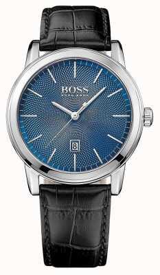 Hugo Boss Męski klasyczny czarny skórzany pasek z niebieską tarczą 1513400