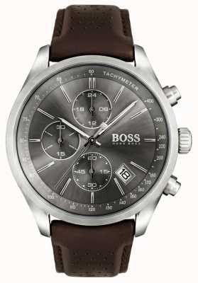 Boss Mens Grand Prix brązowy skórzany pasek szara tarcza 1513476