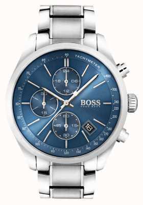 Boss Mens Grand Prix ze stali nierdzewnej niebieska tarcza 1513478