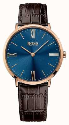 Hugo Boss Męski skórzany pasek marki Jackson z niebieską tarczą 1513458