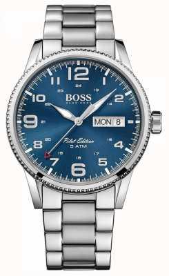 Boss Męska bransoletka ze stali nierdzewnej w stylu vintage, niebieska tarcza 1513329
