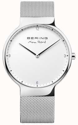 Bering Mens max rené wymienny pasek z siatki srebrny 15540-004