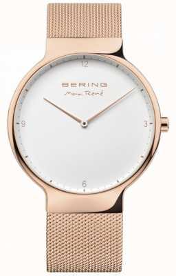 Bering Mens max rené wymienny pasek z siatki różowe złoto 15540-364