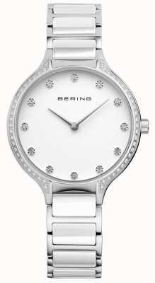 Bering Zegarek damski z białego ceramicznego cyrkonia 30434-754