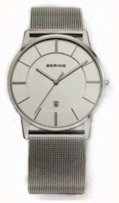 Bering Męski, klasyczny, siatkowy pasek z białą tarczą 13139-000