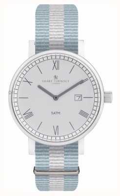 Smart Turnout Zegarek powiatowy - srebrny z paskiem ell STK1/SV/56/W