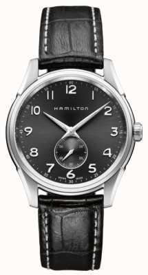 Hamilton Mens jazzmaster cienki mały drugi kwarc czarny H38411783
