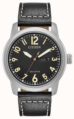 Citizen Męski, ekologiczny czarny chandler ze skóry ekologicznej BM8471-01E