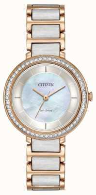 Citizen Womans eko-drive z kryształowym dwukolorowym różowym złotem EM0483-89D