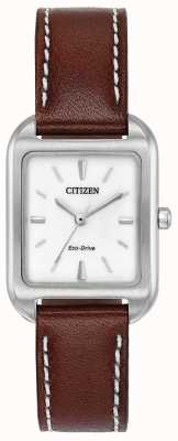 Citizen Womans eco-drive sylwetka brązowa skóra EM0490-08A