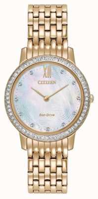 Citizen Womans eco-drive sylwetka kryształowe różowe złoto EX1483-50D
