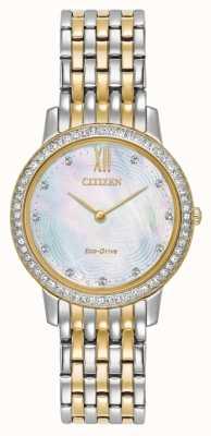 Citizen Womans eco-drive sylwetka kryształowa dwukolorowa złota EX1484-57D
