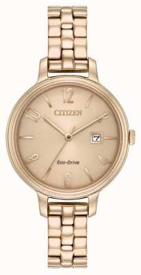 Citizen Chandler z różowego złota w stylu eko z napędem EW2443-55X
